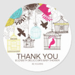 Colourful Birdcages Baby Shower Thank You Stickers