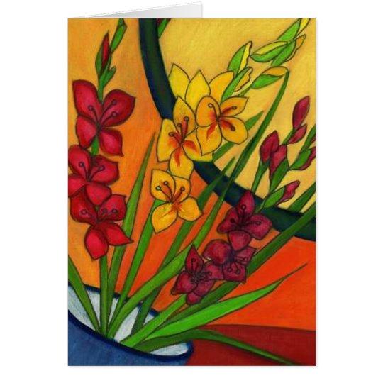 Colourful Birthday Card Gladiolus August Flower