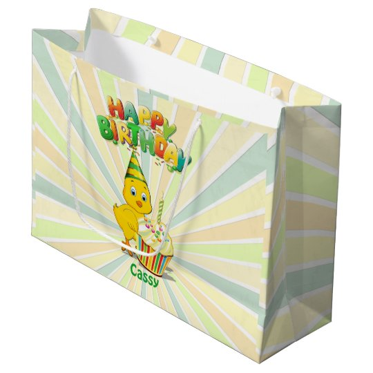 Colourful Birthday Chicken Cartoon Large Gift Bag
