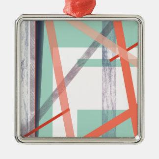 Colourful Blocks Silver-Colored Square Decoration