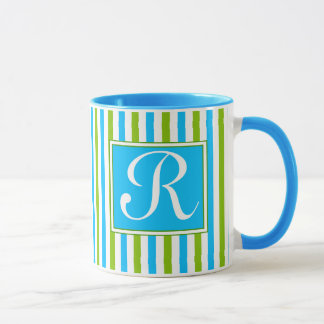 Colourful Blue and Green Stripe Pattern Monogram Mug