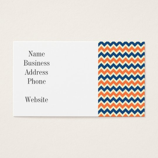 Colourful Blue and Orange Chevron Stripes Zig Zags Business Card