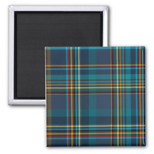 Colourful Blue Plaid Pattern Square Magnet