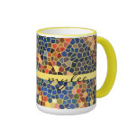 Colourful Blue Yellow Orange Abstract Funky Mosaic