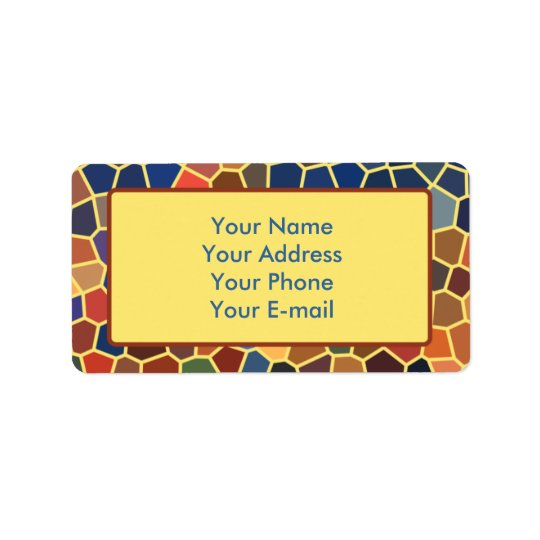 Colourful Blue Yellow Orange Abstract Funky Mosaic Label