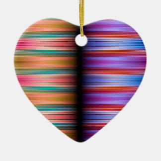 Colourful blurred stripes pattern ceramic heart decoration