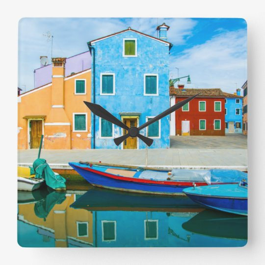 Colourful Boat Scene |Venetian Lagoon Square Wall Clock