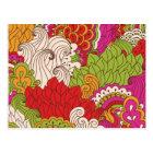 Colourful Bohemian Boho MOD Hippy Chic Pattern Postcard