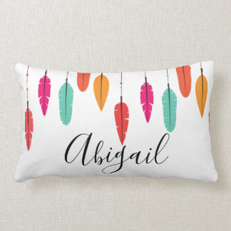 Colourful Bohemian Feather Personalised Name Lumbar Cushion