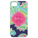 Colourful Bohemian Paisley Custom Monogram Barely There iPhone 5 Case