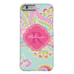 Colourful Bohemian Paisley Custom Monogram Barely There iPhone 6 Case