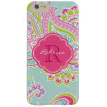 Colourful Bohemian Paisley Custom Monogram Barely There iPhone 6 Plus Case