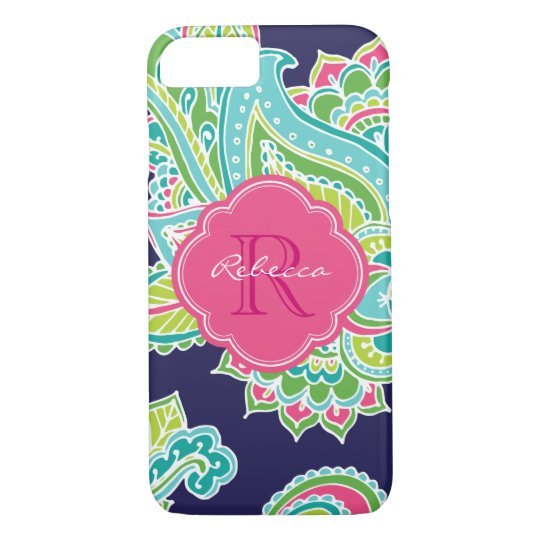 Colourful Bohemian Paisley Custom Monogram iPhone 8/7 Case