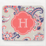 Colourful Bohemian Paisley Henna Custom Monogram Mouse Pad