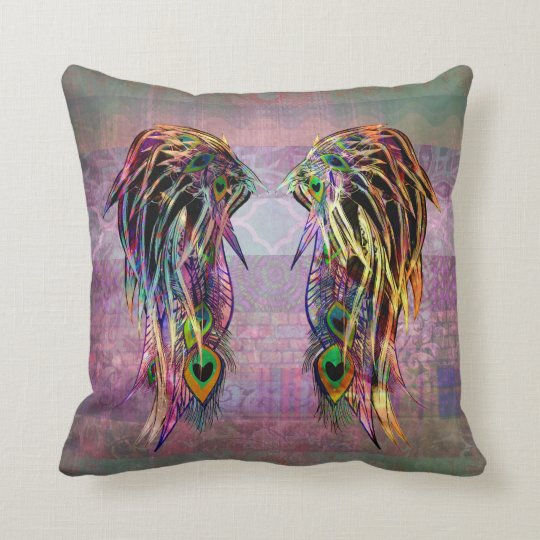 Colourful Bohemian Peacock Feather Angel Wings Throw Pillow