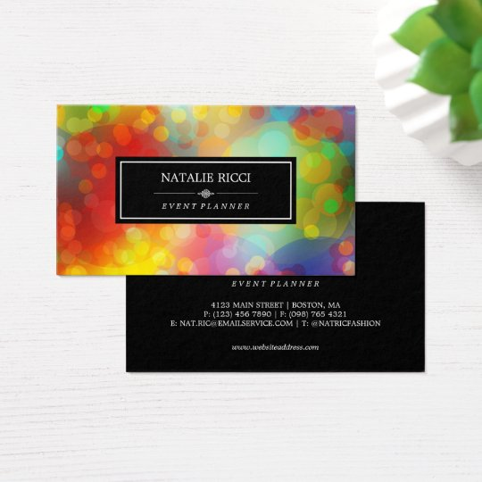 Colourful Bokeh Event Planner Business Card