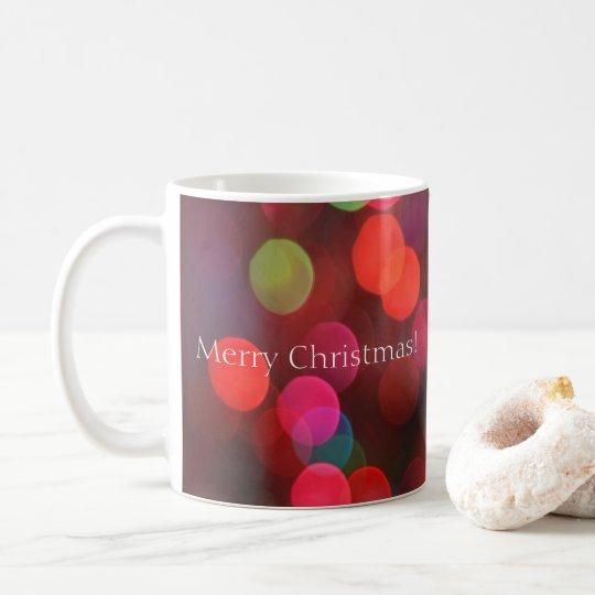 Colourful Bokeh Lights Merry Christmas Coffee Mug