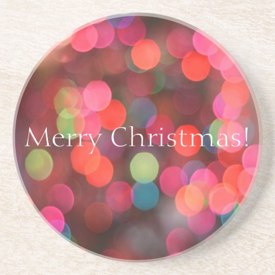 Colourful Bokeh Lights Merry Christmas Greeting Coaster