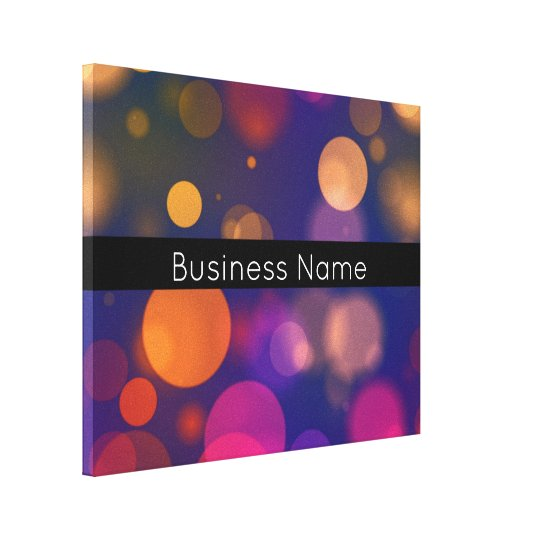 Colourful Bokeh Lights with Business Name Canvas Print