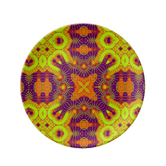 Colourful bold purple gold tribal porcelain plate