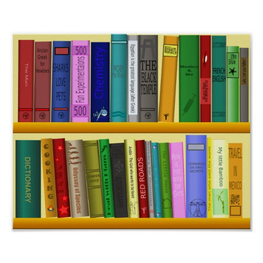Colourful books classroom or library kid's room poster