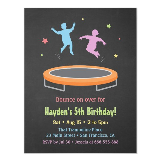 Colourful Bounce Trampoline Kids Birthday Party Card