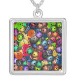 Colourful Bowling Balls Collage Custom Necklace