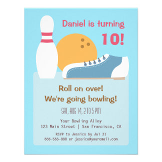 Colourful Bowling Birthday Party Invitations