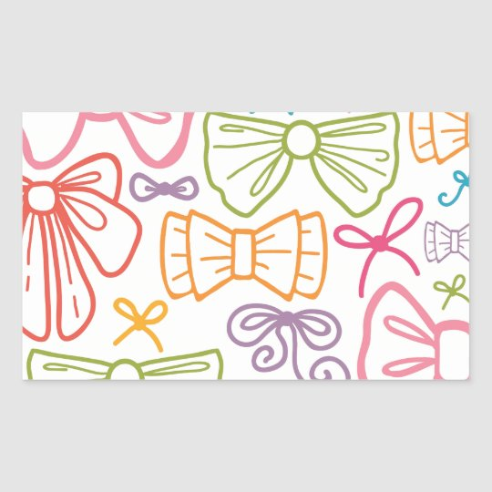 Colourful bows pattern rectangular sticker