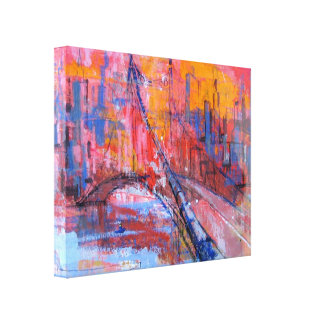Colourful bridge oil painting Wrapped Canvas Gallery Wrapped Canvas