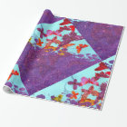 Colourful Bright Butterflies and Purple Glitter Wrapping Paper