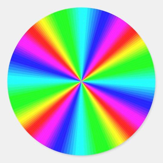 Colourful Bright Rainbow Classic Round Sticker
