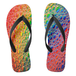 Colourful Bright Rainbow Flip Flops