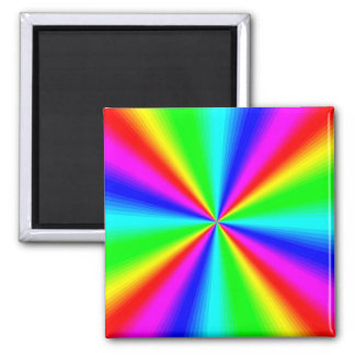 Colourful Bright Rainbow Square Magnet
