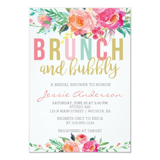 Colourful Brunch Bubbly Bridal Shower Invitation Zazzlecouk