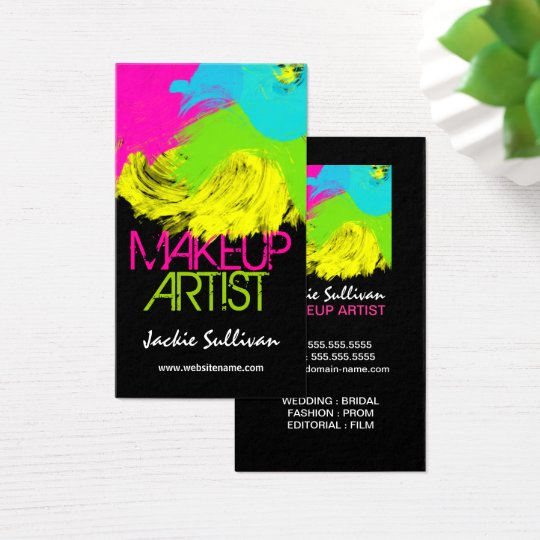 Colourful Brushstrokes Makeup Artist Business Card