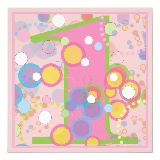 Colourful Bubbles 1st Birthday Party Invitation