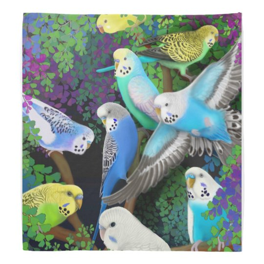 Colourful Budgerigar Parrots in Ferns Bandanna