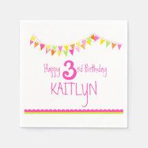Colourful bunting kids 3rd birthday custom napkins