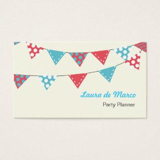 Colourful Bunting Party Planner Business Card