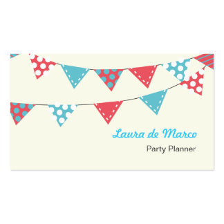 Colourful Bunting Party Planner Business Cards