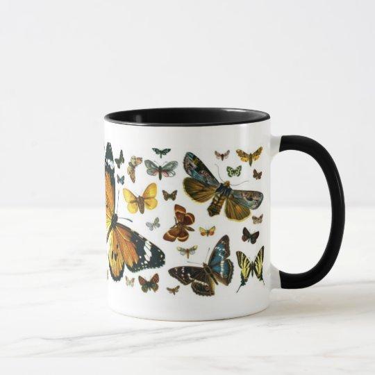 Colourful Butterflies Antiquarian Image Bookmark Mug