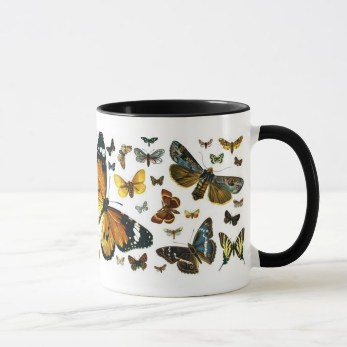 Colourful Butterflies Antiquarian Image Bookmark Mug