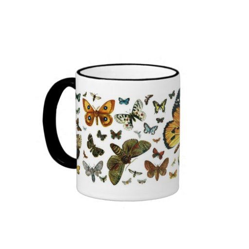 Colourful Butterflies Antiquarian Image Bookmark Ringer Mug