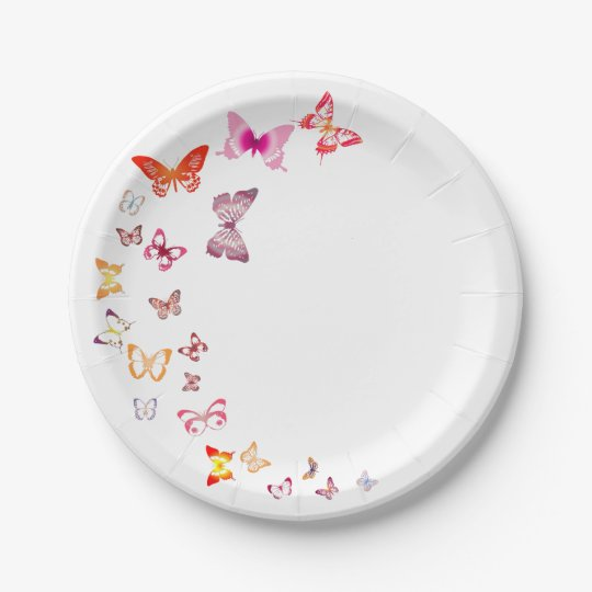 Colourful Butterflies Paper Plate