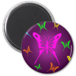 Colourful Butterfly 6 Cm Round Magnet