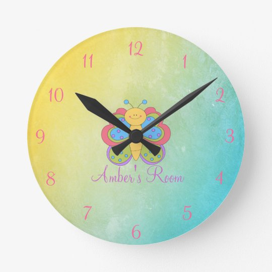 Colourful Butterfly Kids Bedroom Round Clock