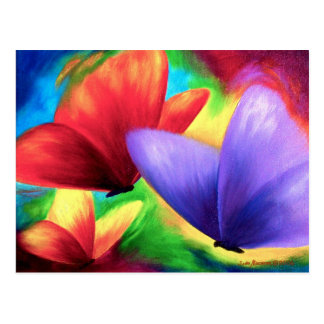 Colourful Butterfly Paintings On Print Postcards