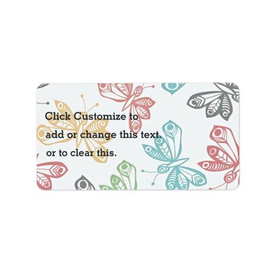 Colourful butterfly pattern address label