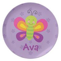 Colourful Butterfly Personalised Melamine Plate  sc 1 st  Zazzle & Cartoon Plates | Zazzle.co.uk